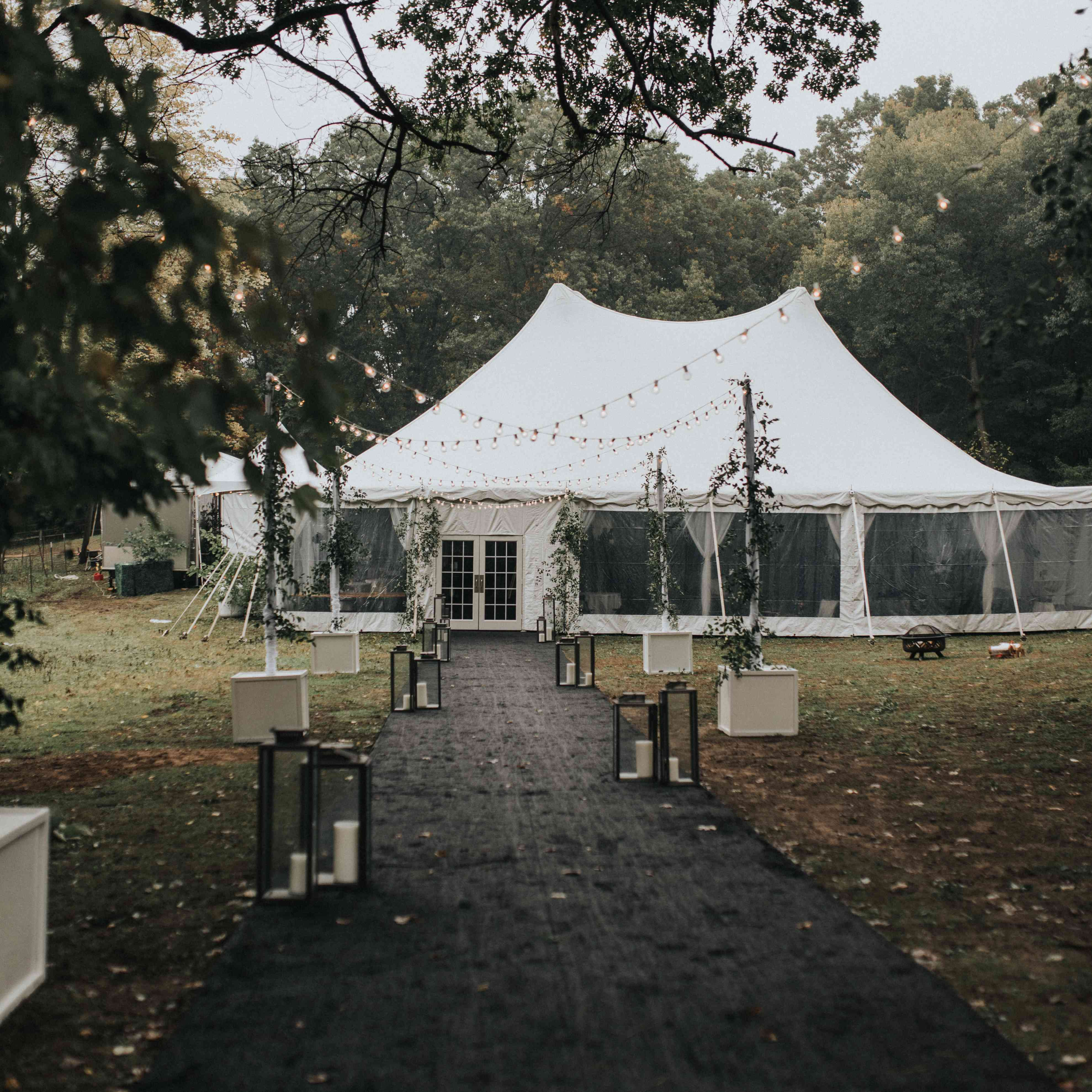 personalized michigan wedding, reception tent
