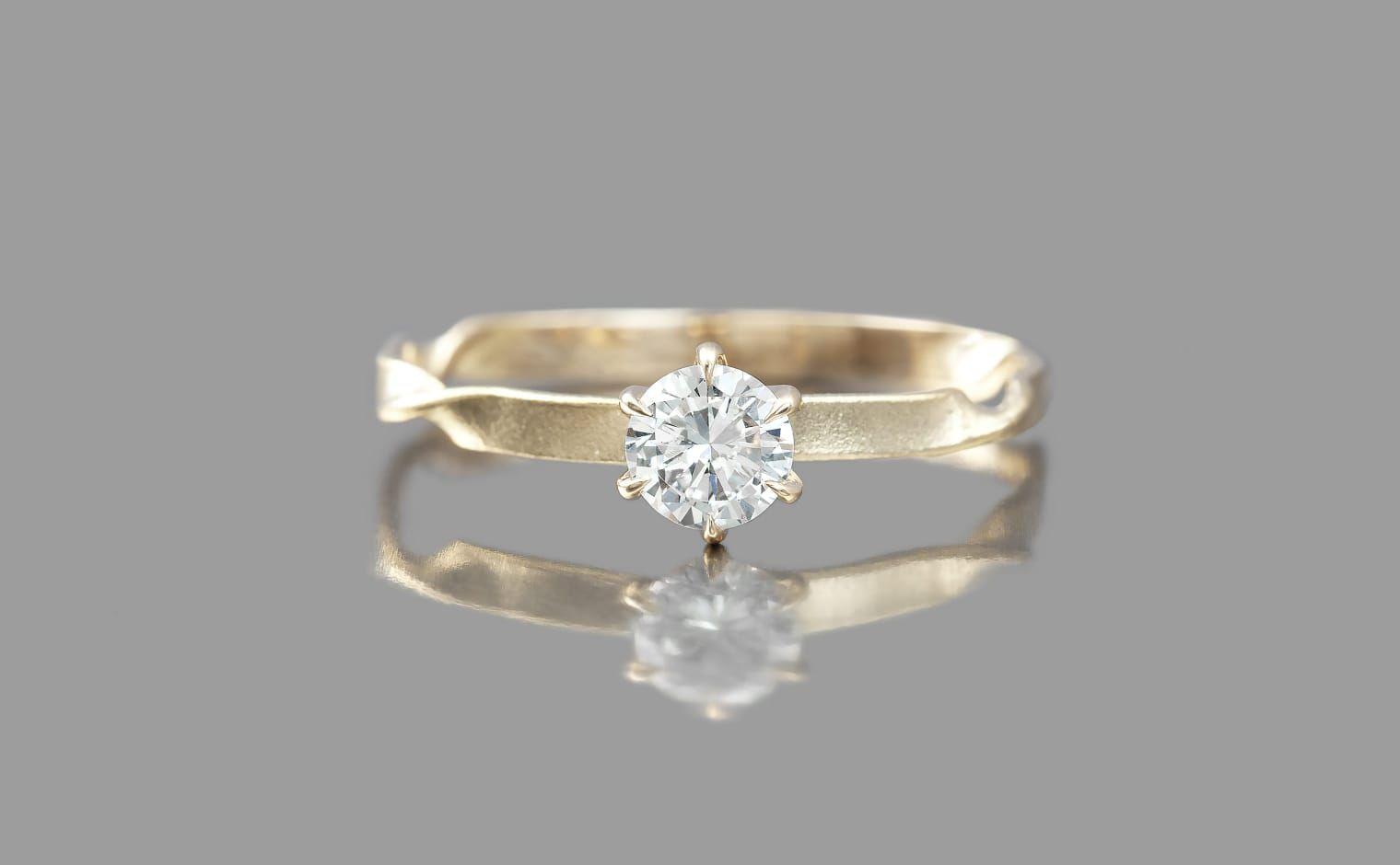 Kataoka Twisting Diamond Solitaire Ring