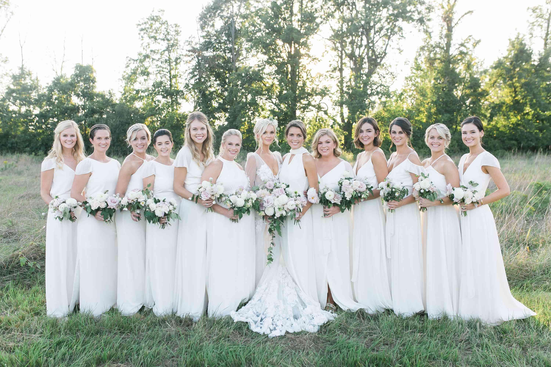 bridal party white bridesmaid dresses