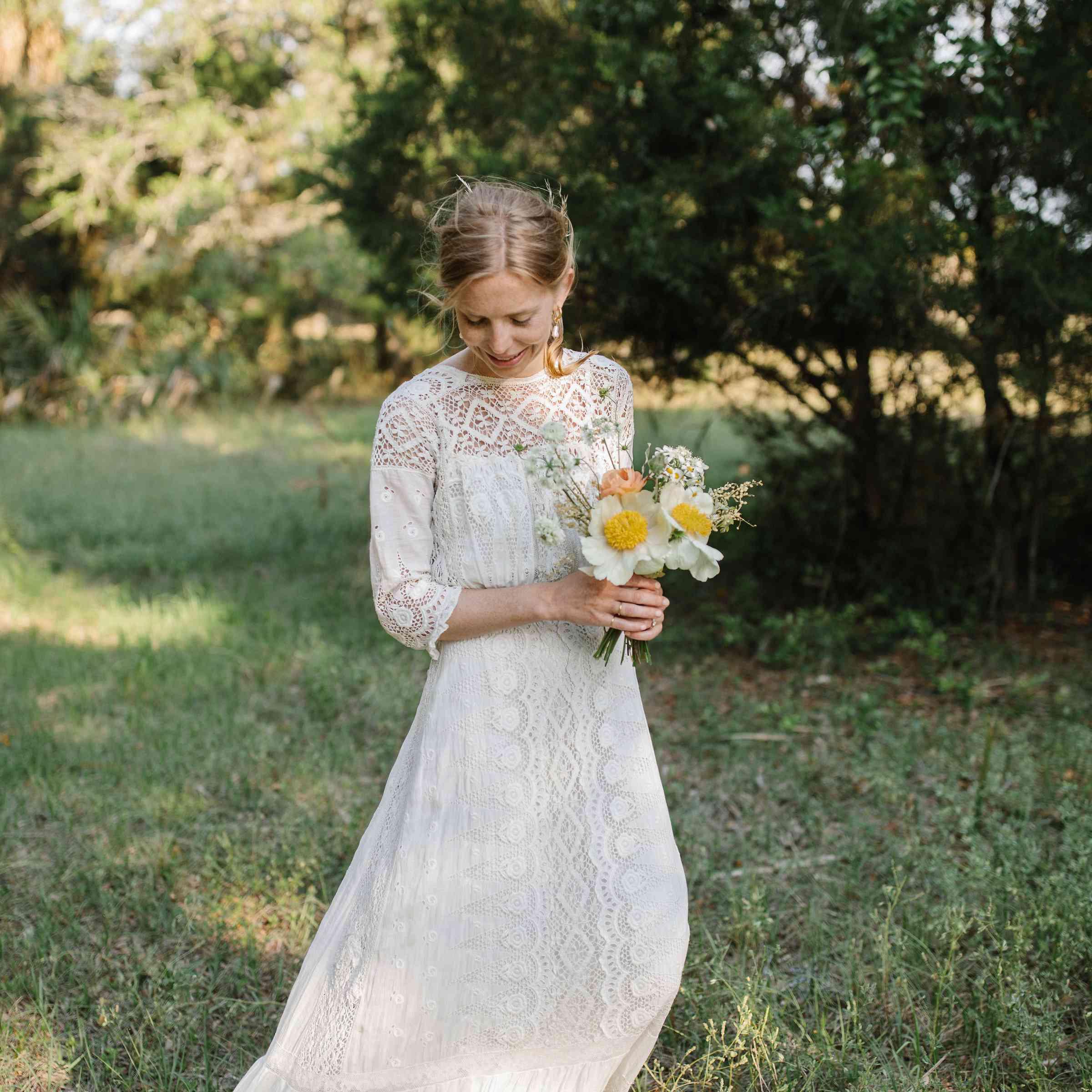 <p>bride in vintage wedding dress</p><br><br>