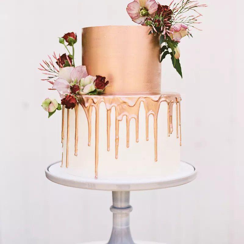 Wedding cake with rose gold drip
