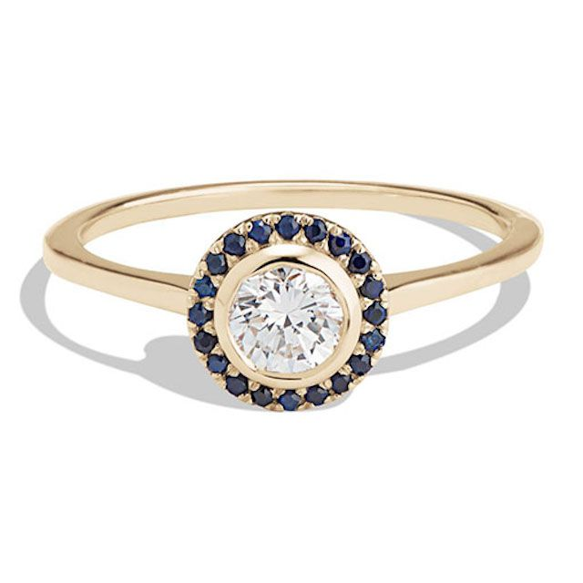 Soma Rose Cut Diamond with Blue Sapphire Halo Ring