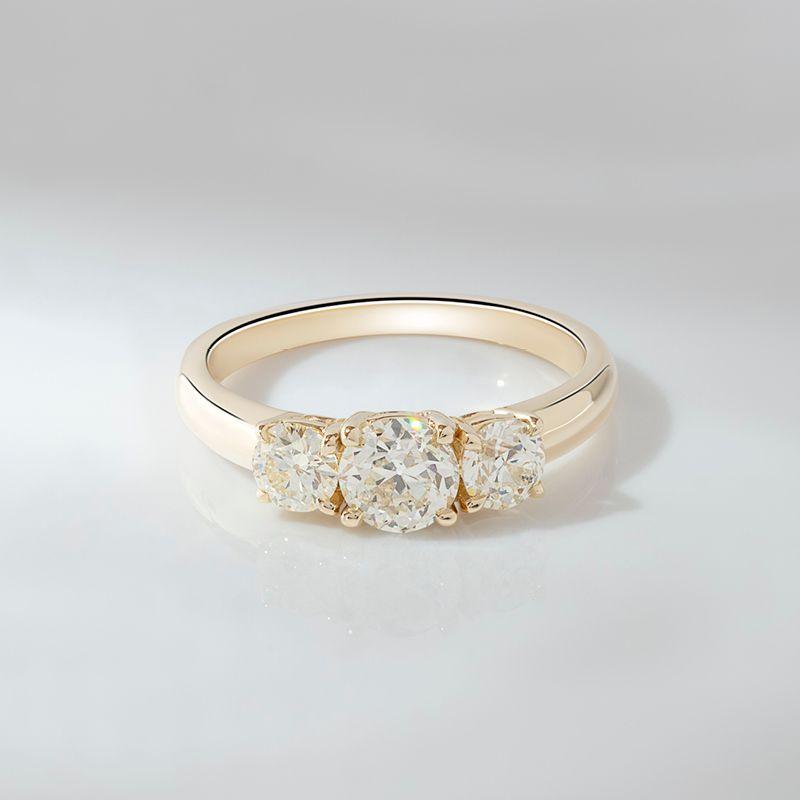 Rosey West Old European Cut Antique Diamond Three Stone Ring