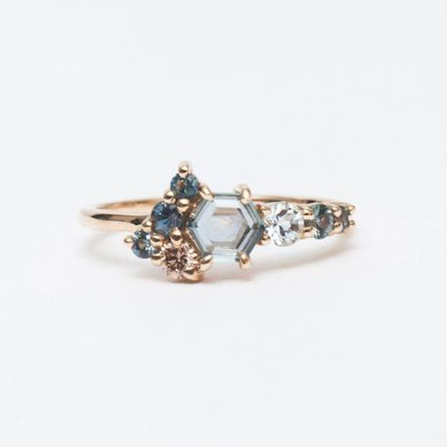 Bario Neal Radial Cluster Hex Sapphire Ring