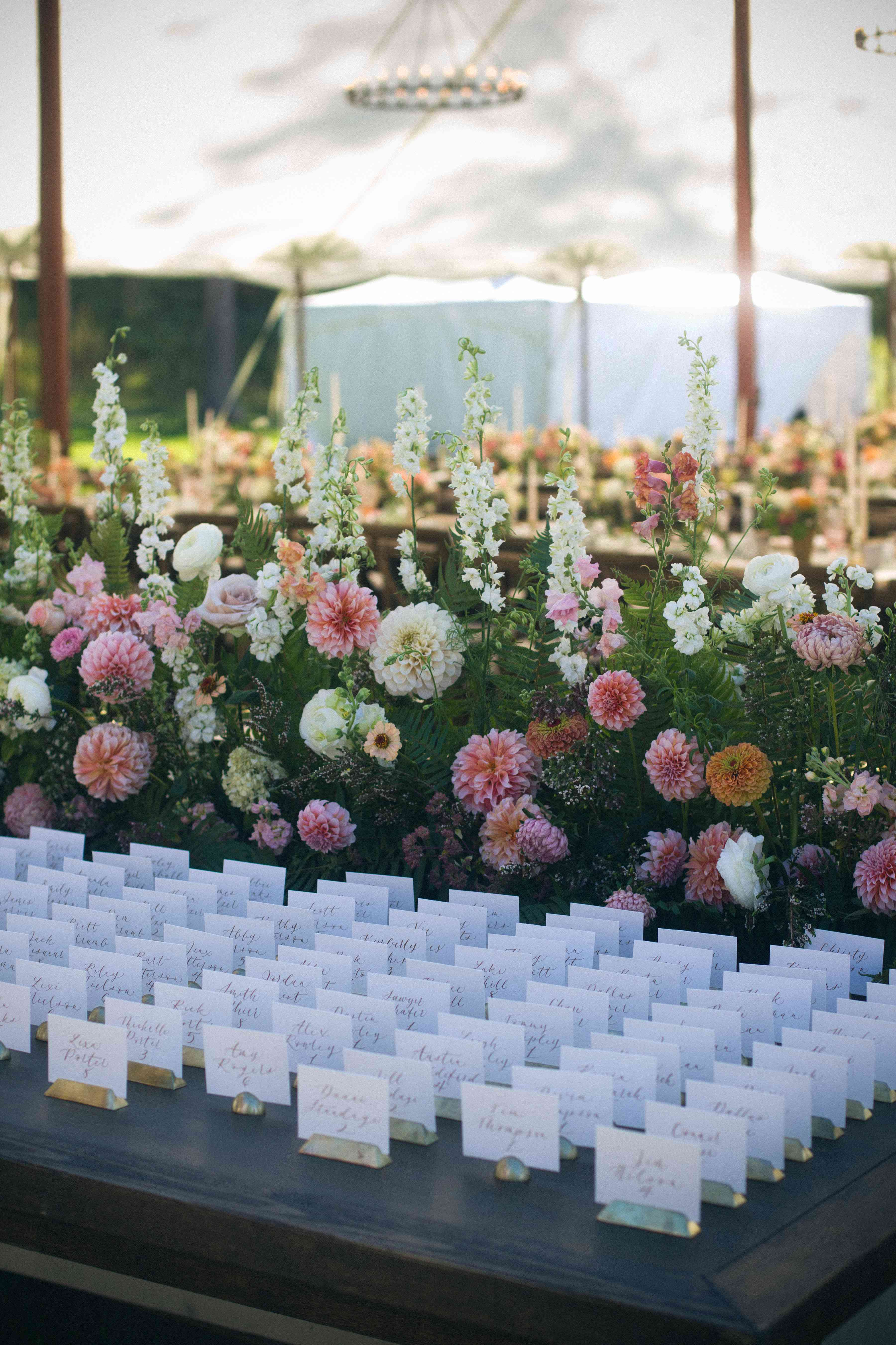 Escort cards displayed with multicolored flowers