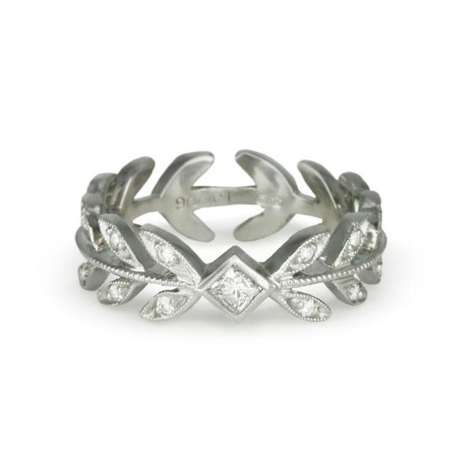 Cathy Waterman Platinum and Diamond Wheat Ring
