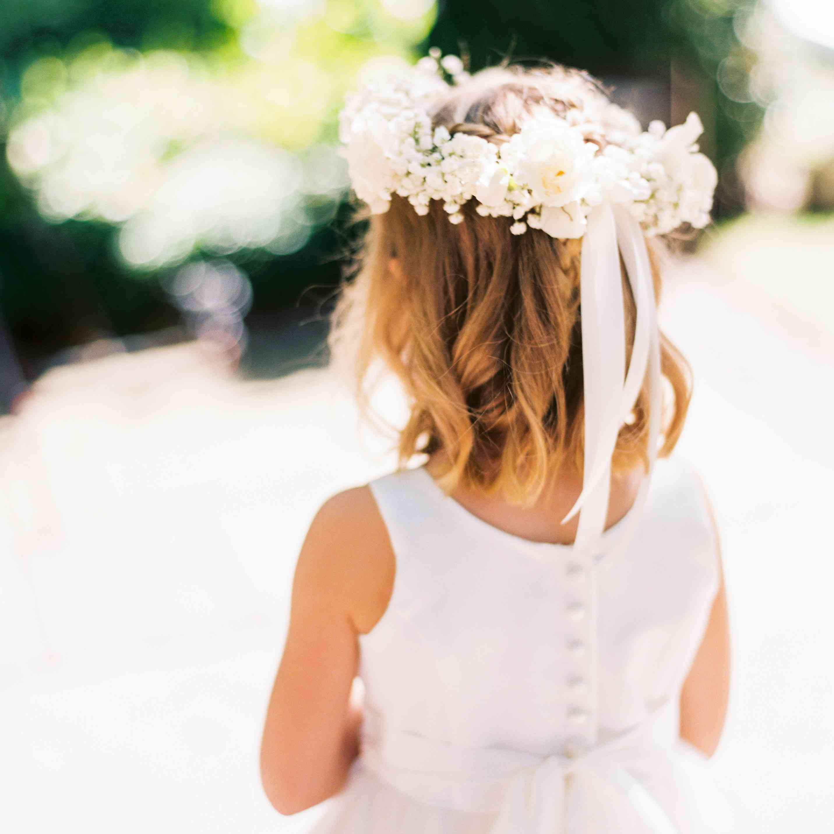 Flower girl wearing flower crown