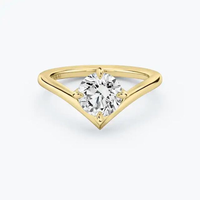 VRAI The Signature V Solitaires in 18k Yellow Gold