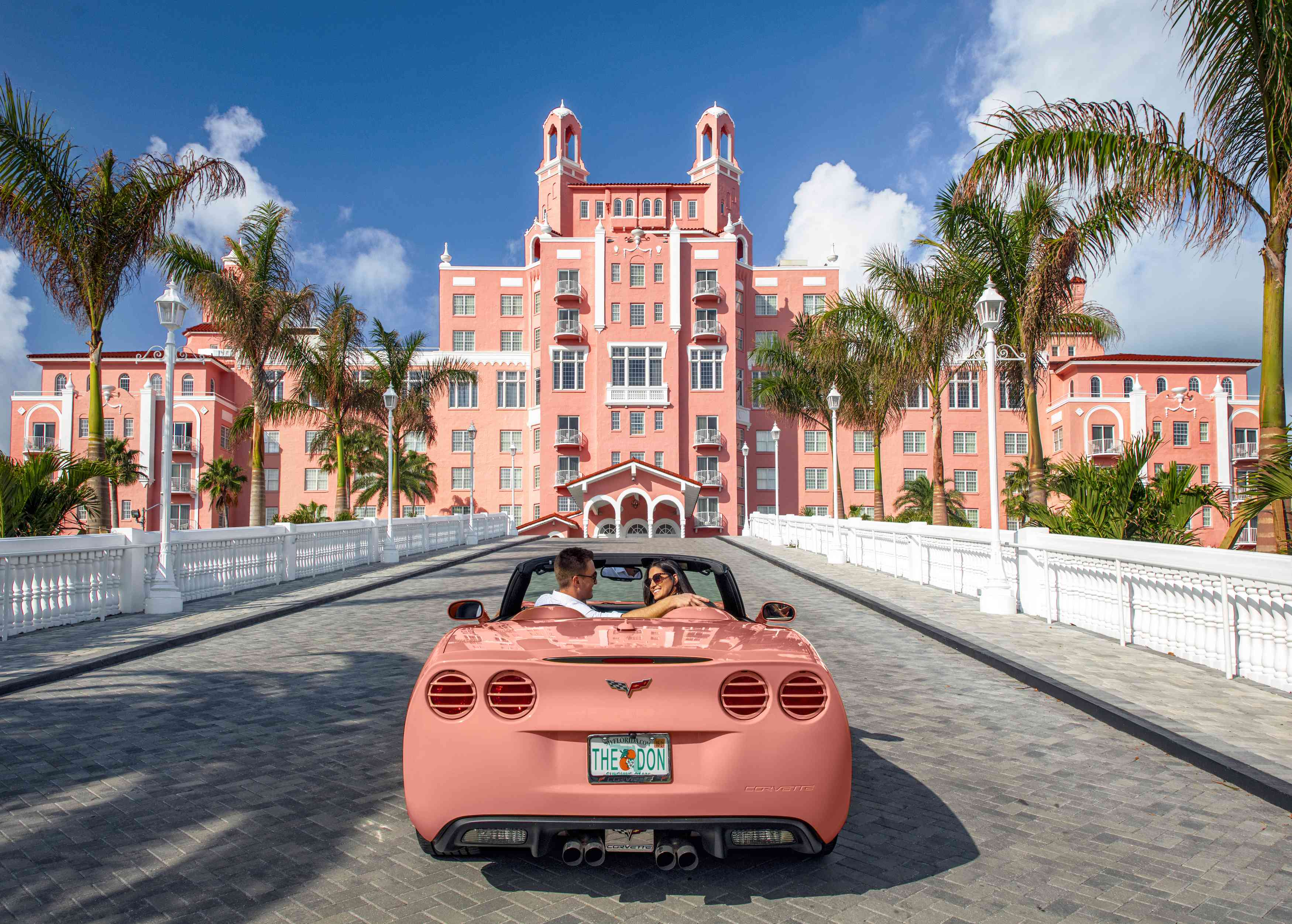 Pink convertible on the entry drive of The Don CeSar Resort in St. Pete Beach
