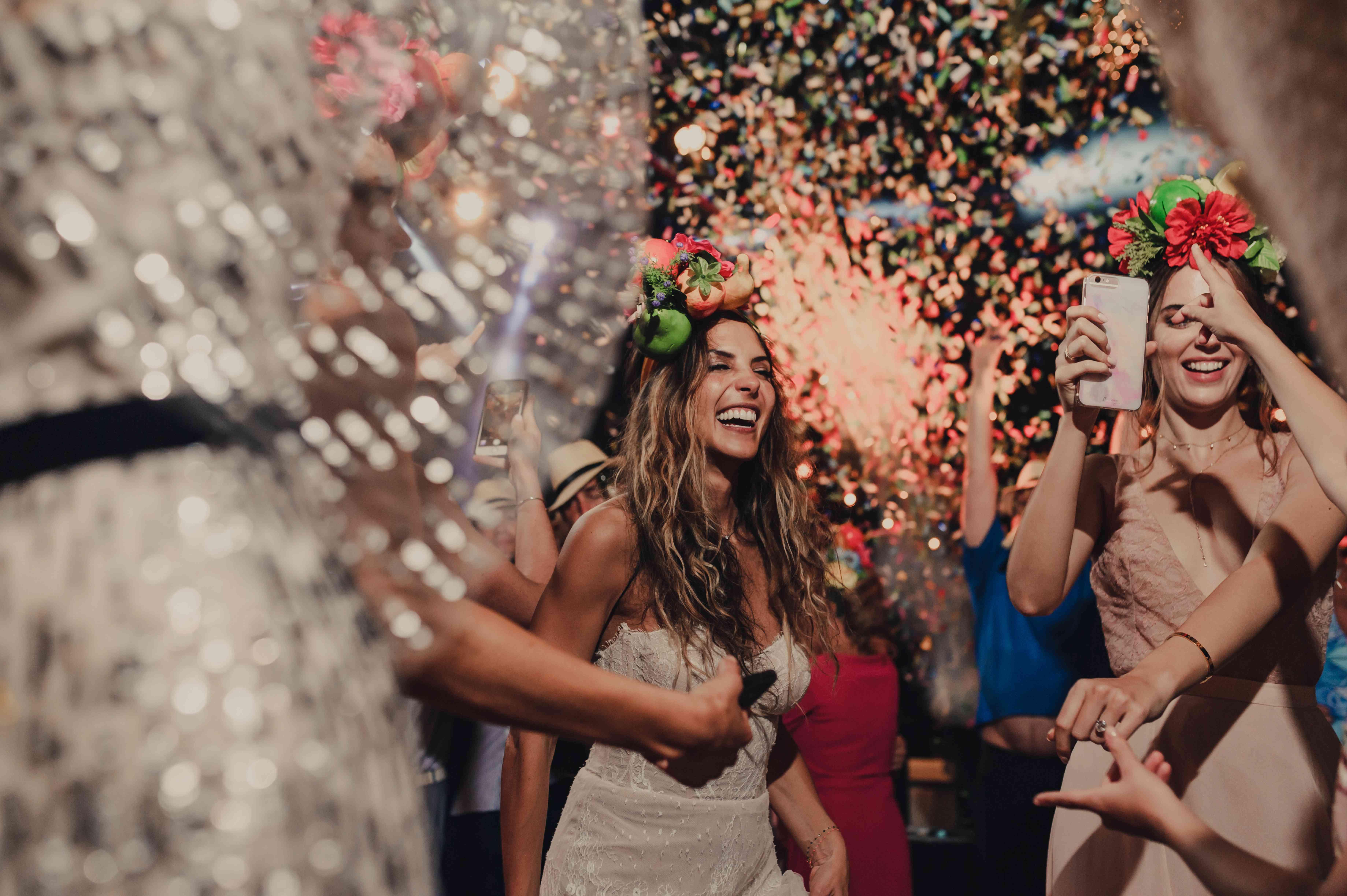 reception confetti dance floor