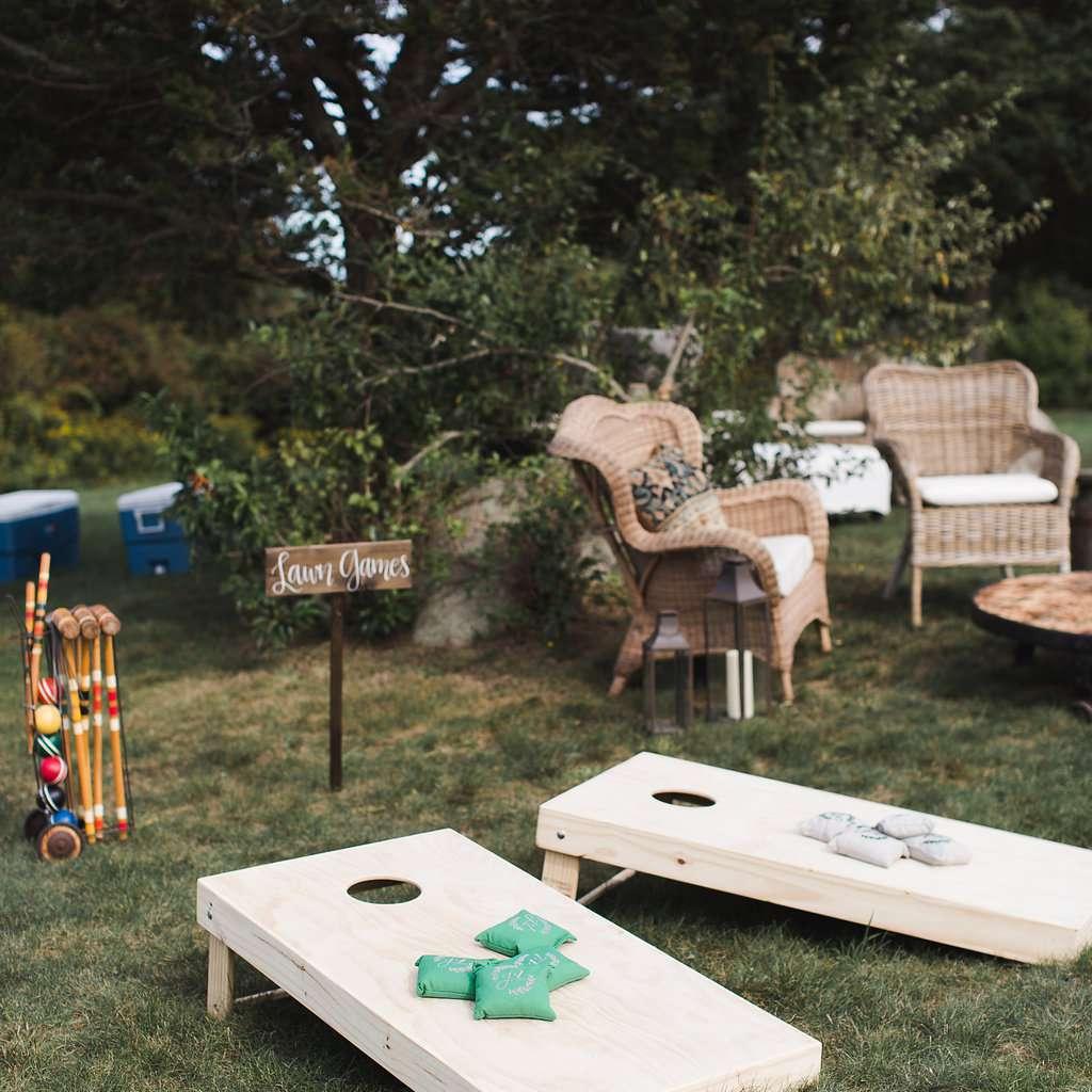 Cornhole on lawn for wedding