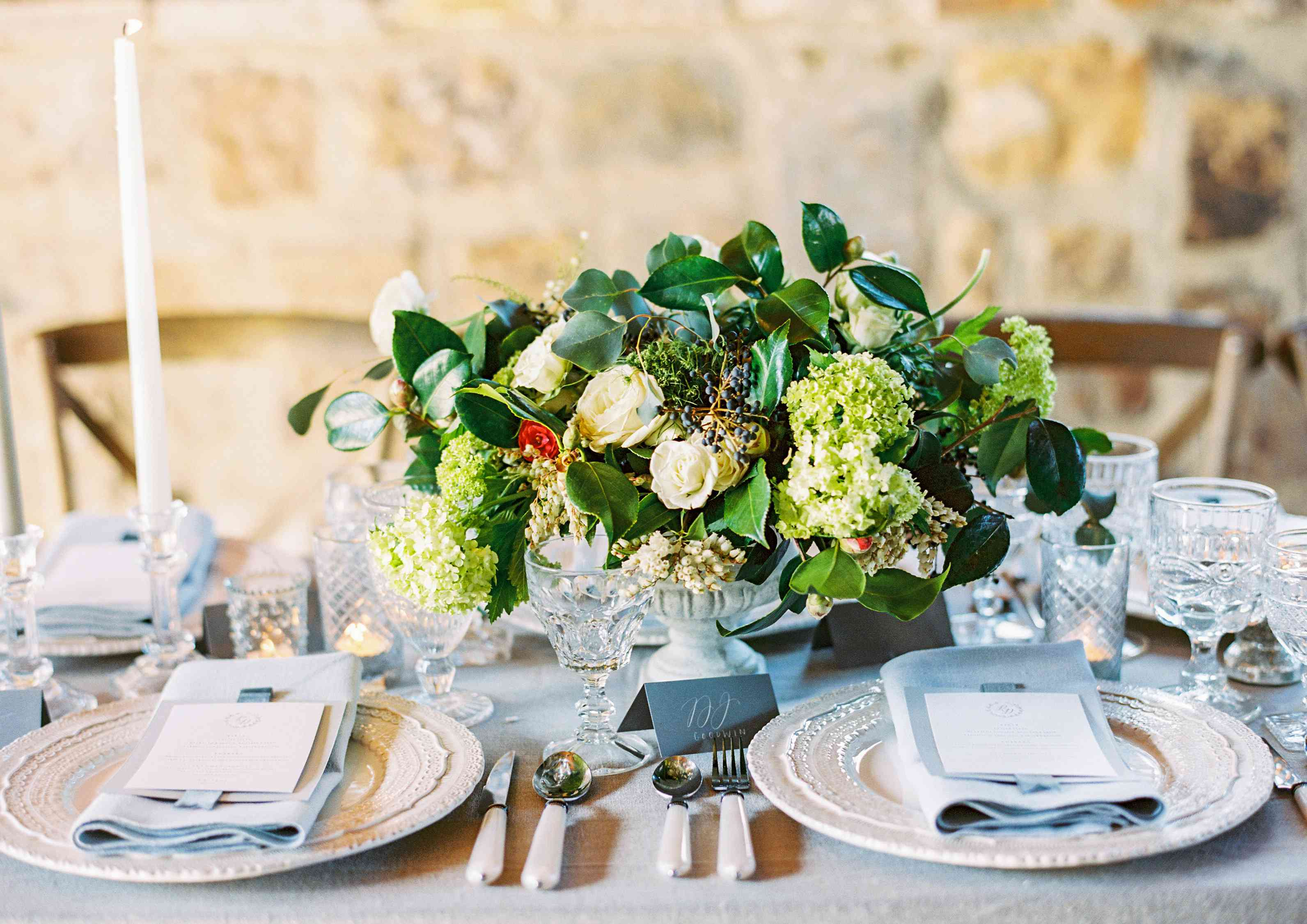 Greenery and White Rose Centerpieces