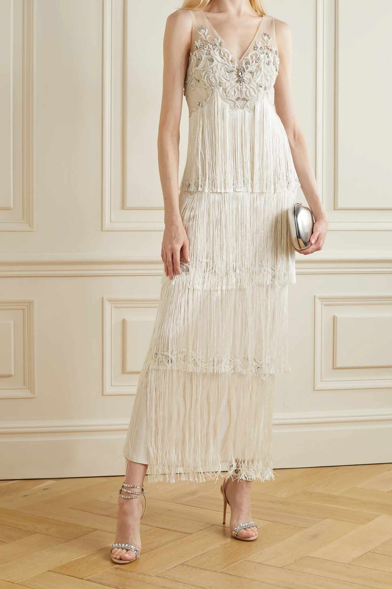 Embellished fringed tulle gown
