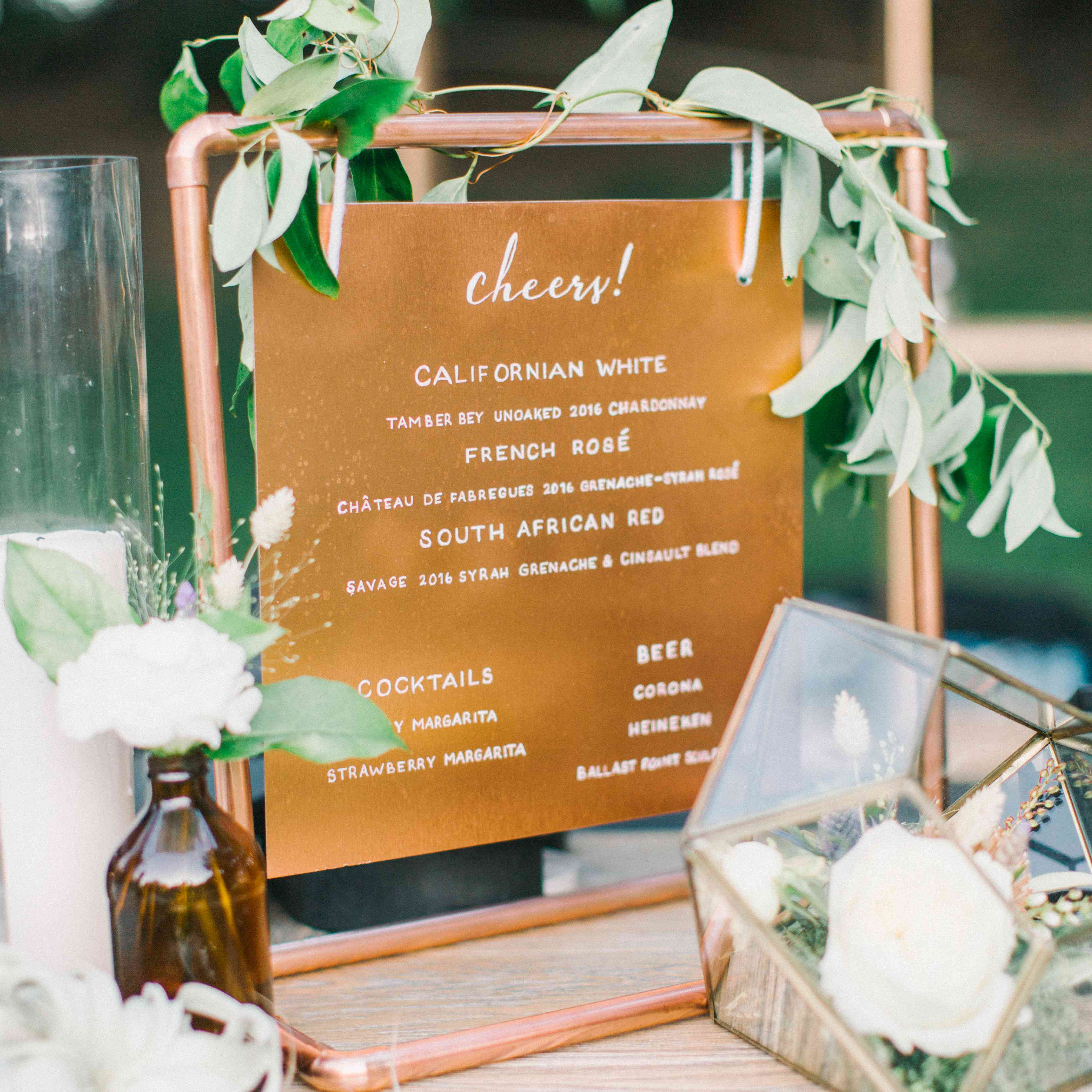 bar menu copper decor