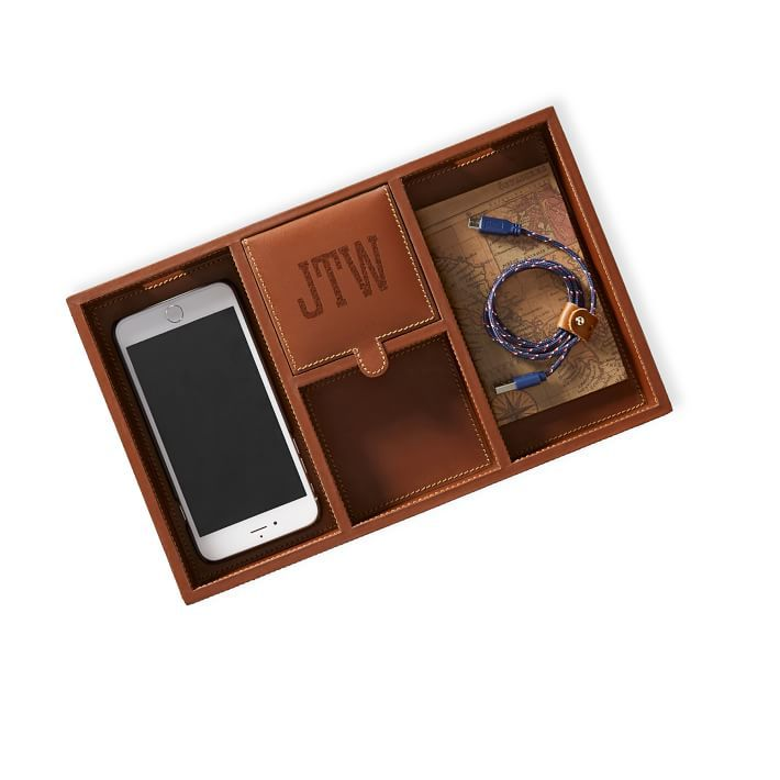 Rustic Leather Tech Catchall Tray
