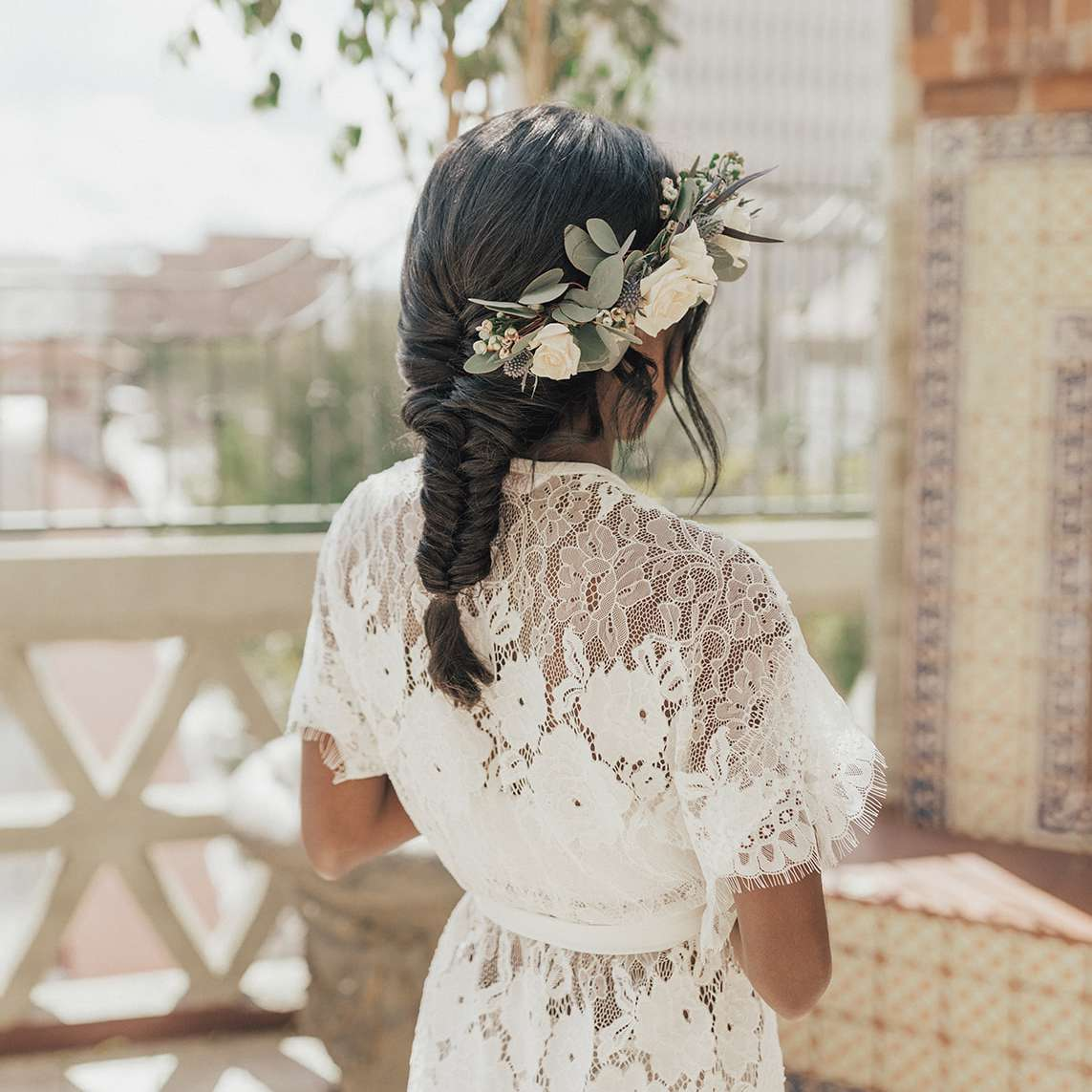 fishtail braid and flower crown