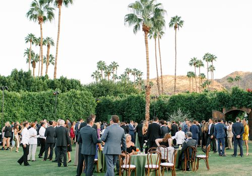 Wedding guests mingling at outdoor cocktail hour with palm trees in the background