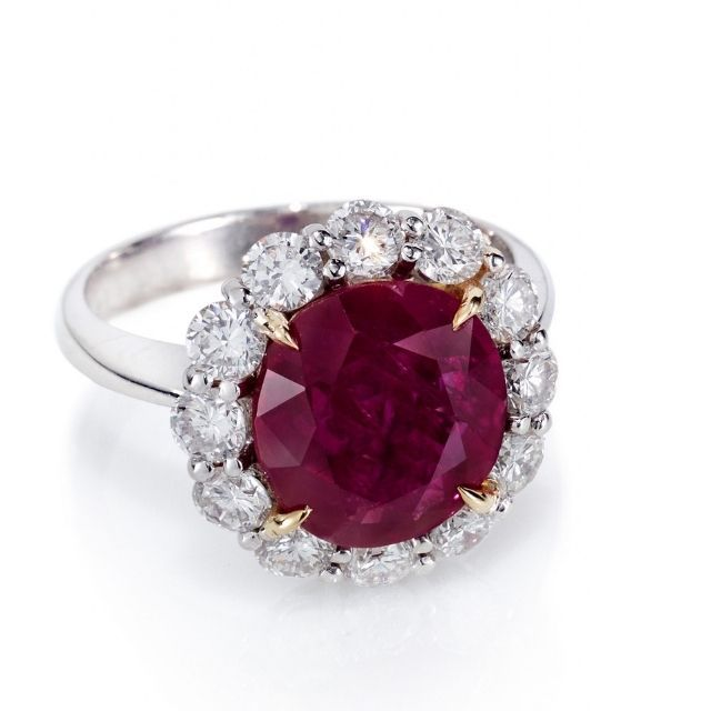 Lauren Addison Ruby and Diamond Cluster Ring