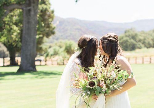 Bride close with bridesmaids