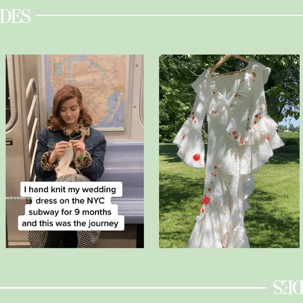 Woman knitting wedding dress