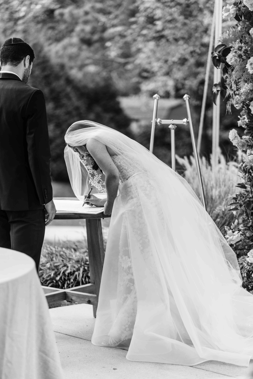 Bride writing