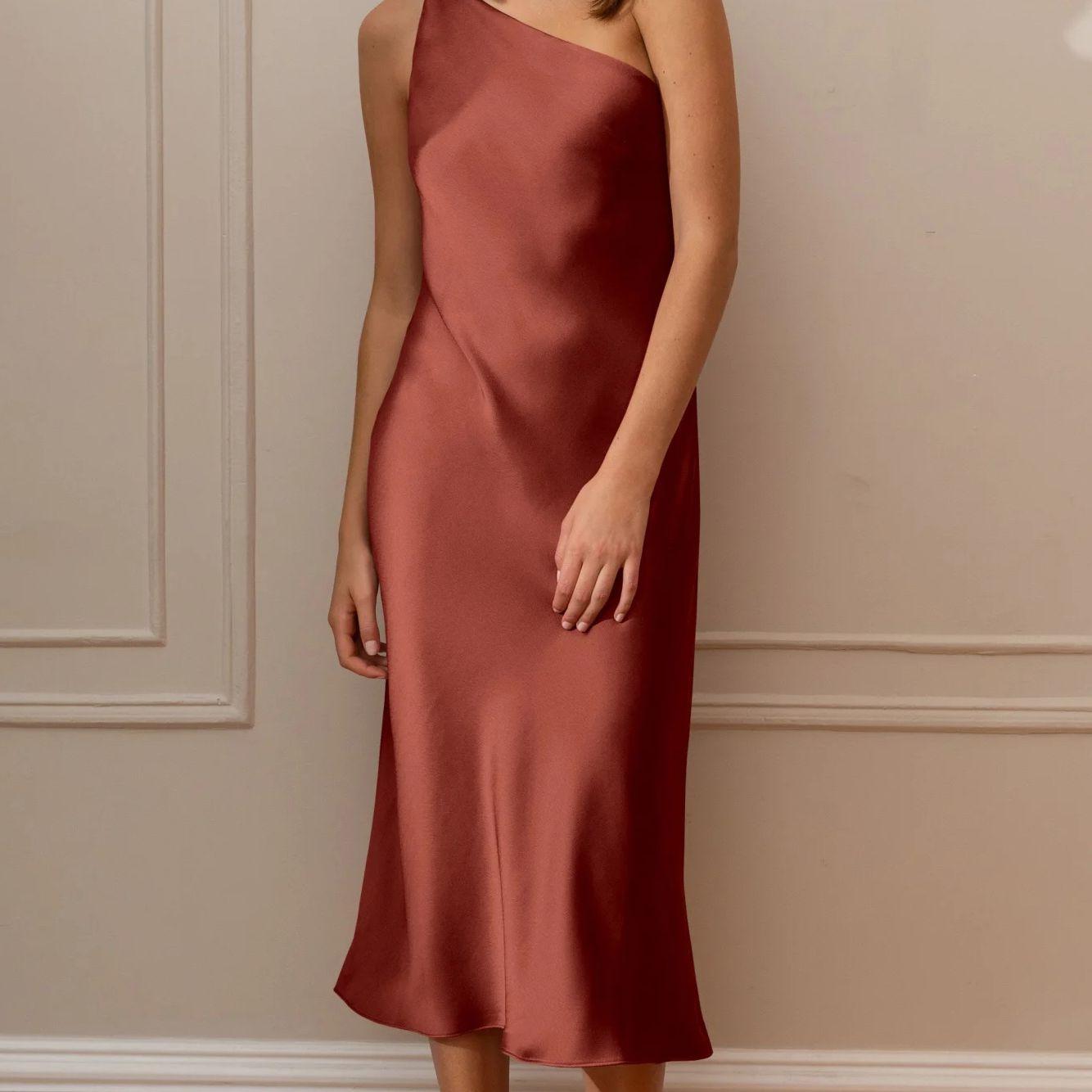 One-Shoulder Slip Dress