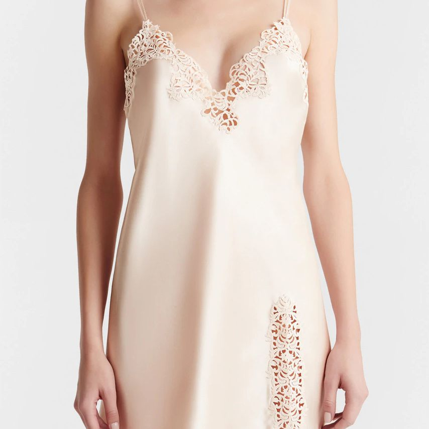 graphic lace slip dress