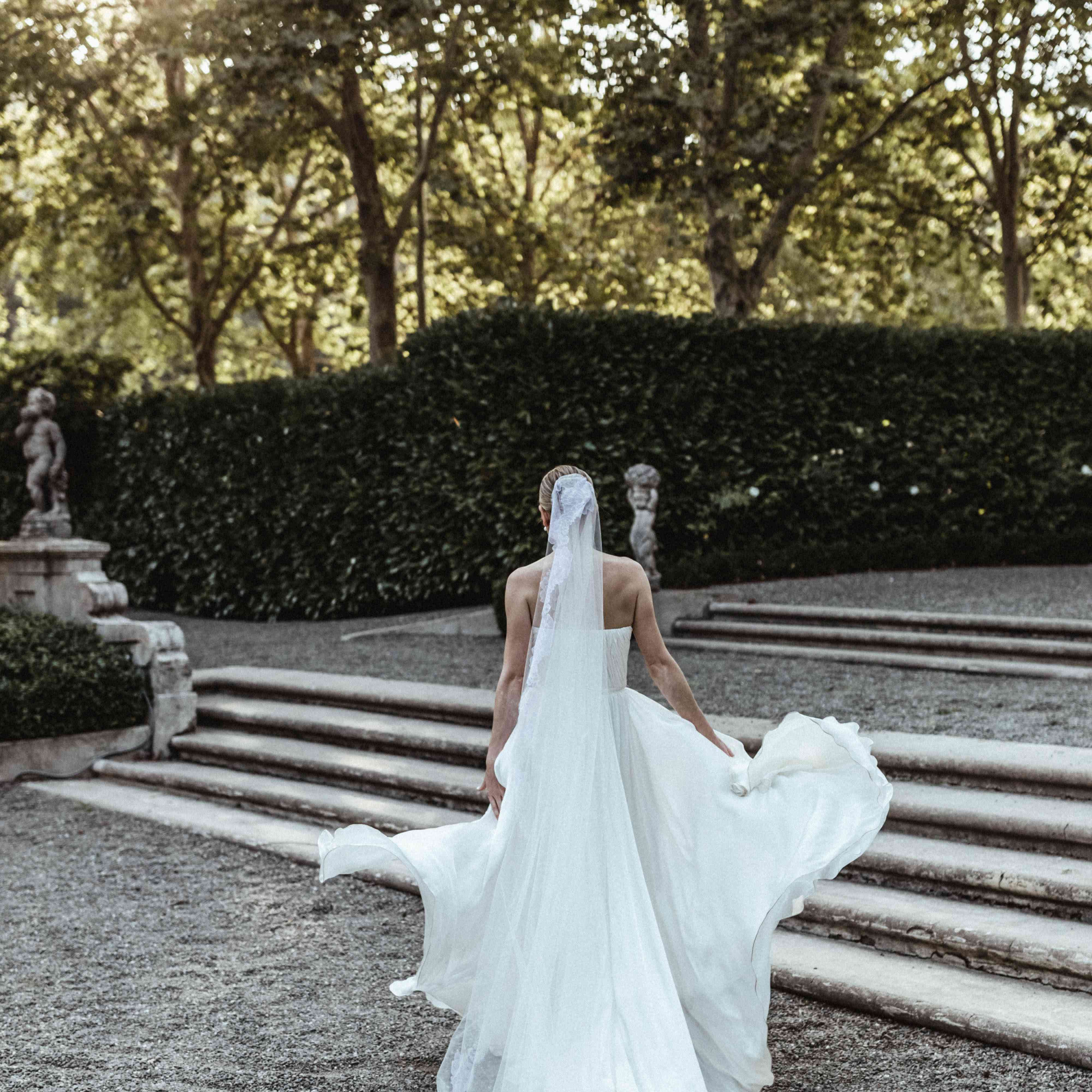 back of bride's dress and veil