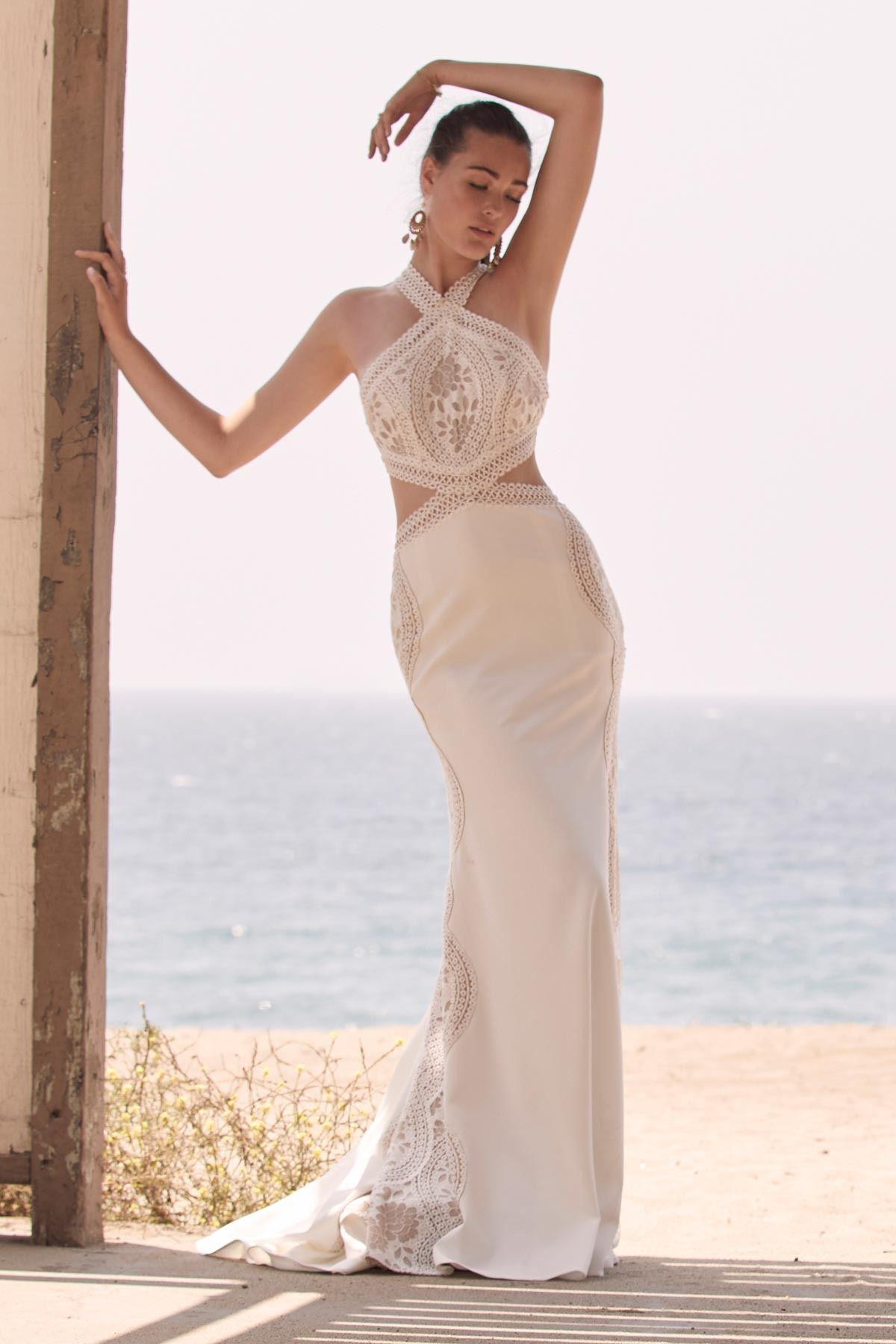 Willowy halter neck wedding dress in ivory