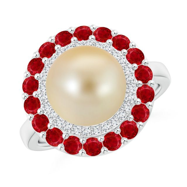gold ring with diamond and ruby accents