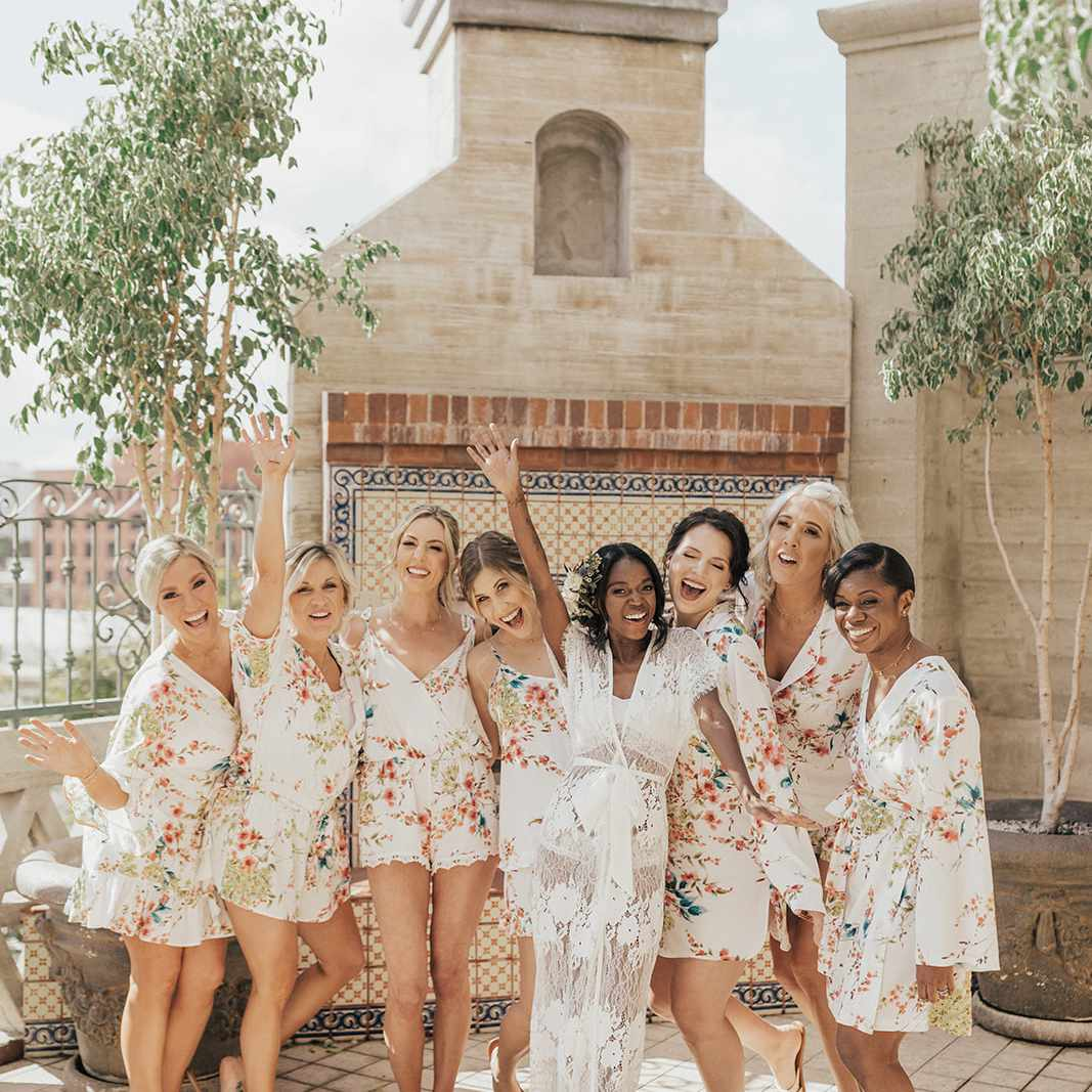 bride and bridal party in robes