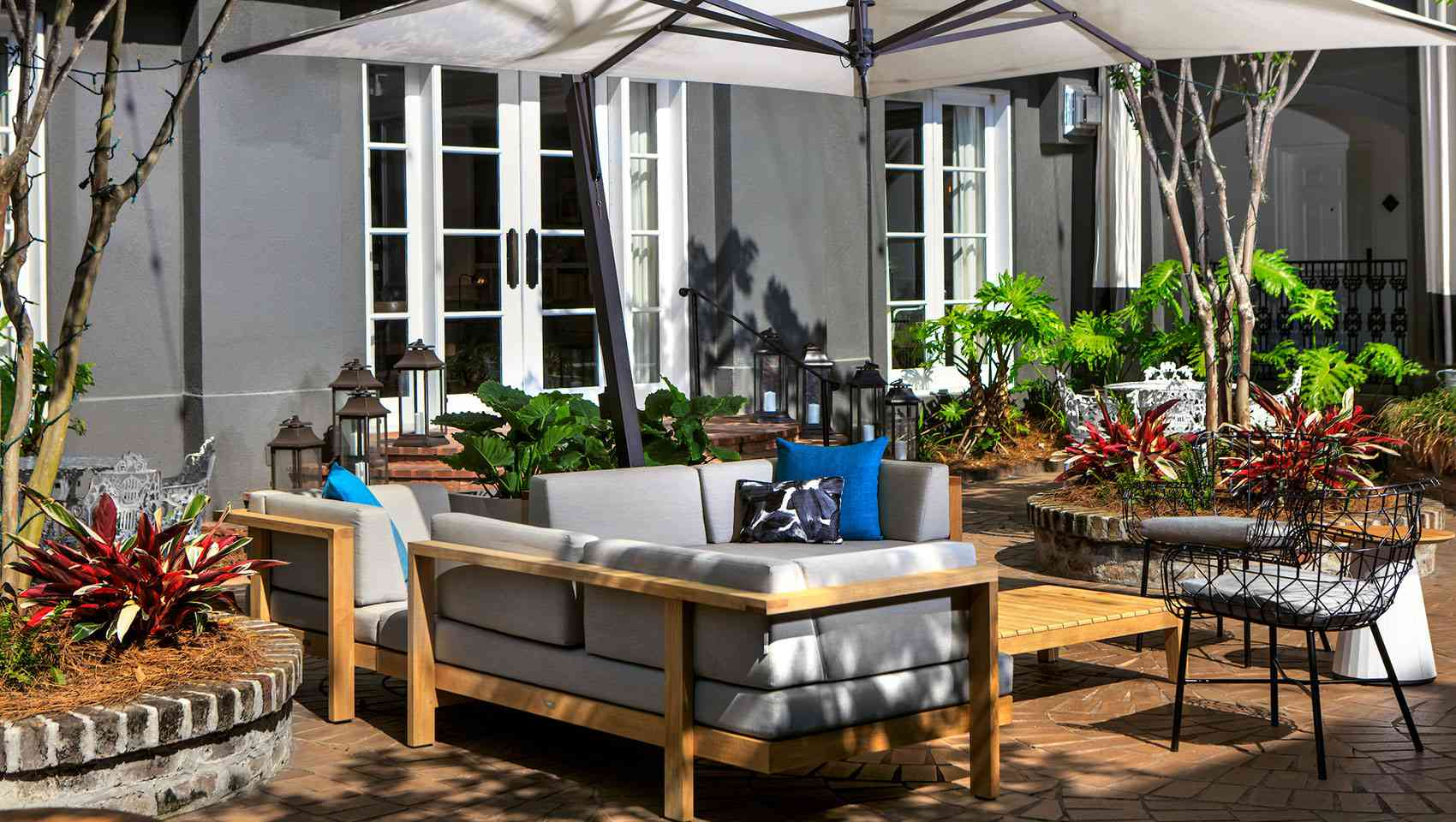 Garden patio at the Kimpton Brice hotel