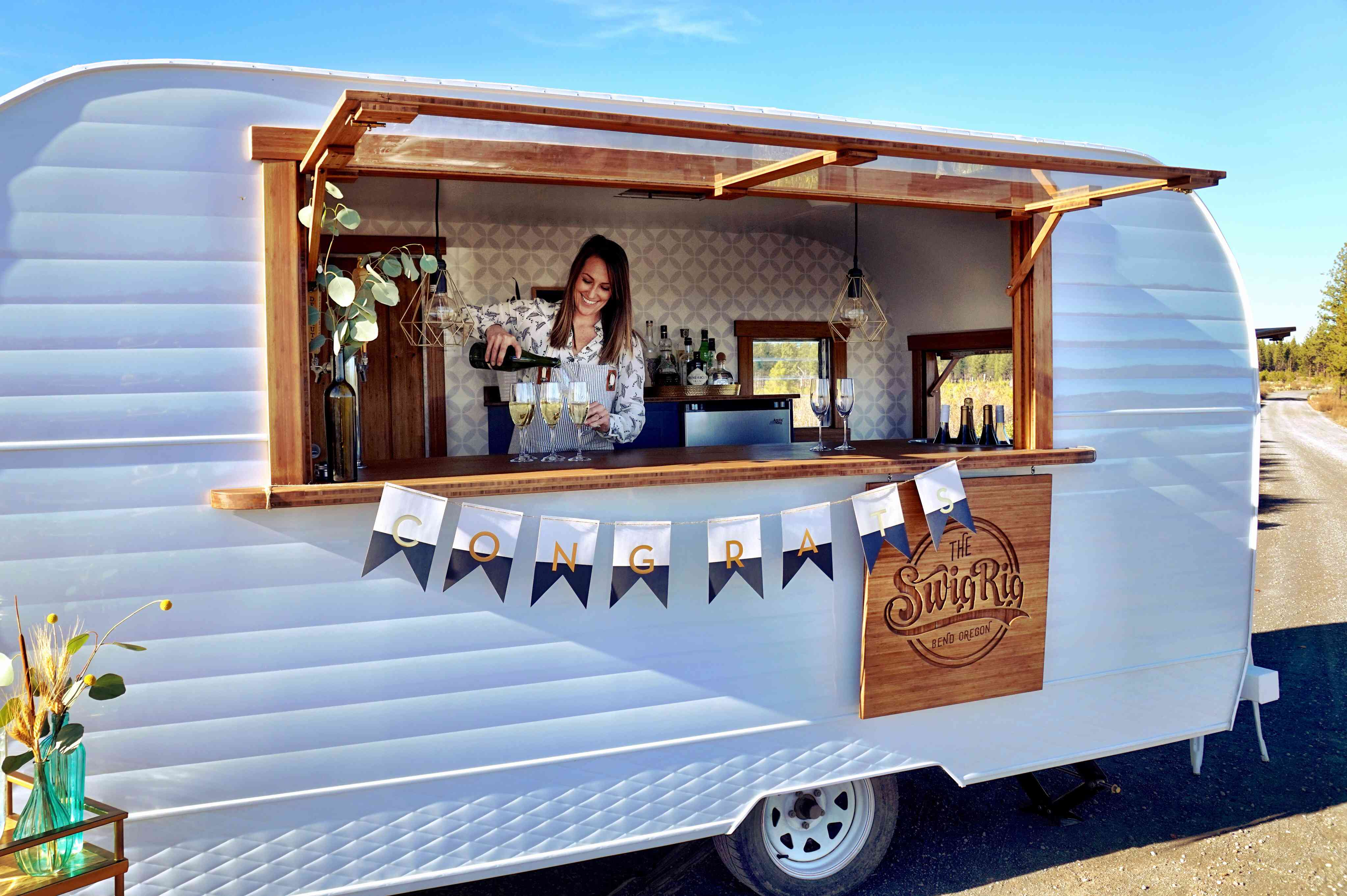 Mobile bar at a wedding reception congratulation (graduation party)