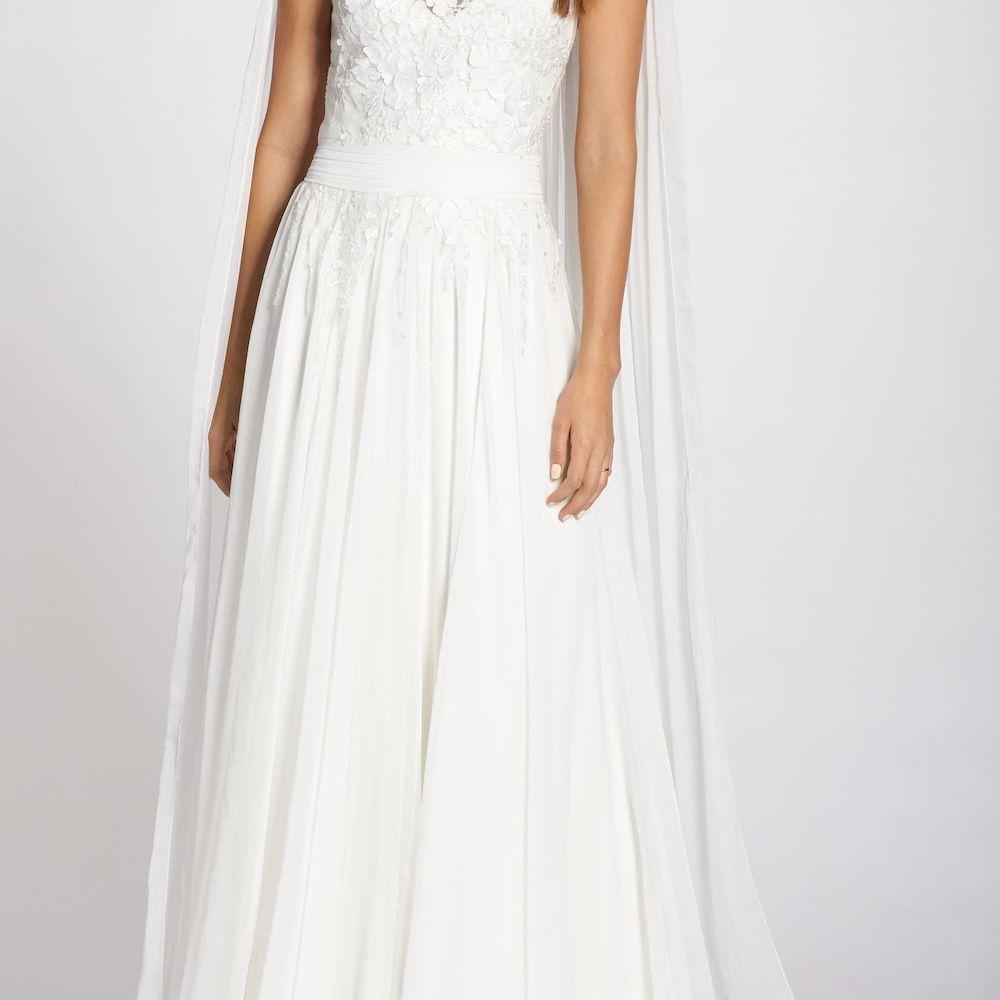Tadashi Shoji V-Neck Lace Wedding Dress with Cape