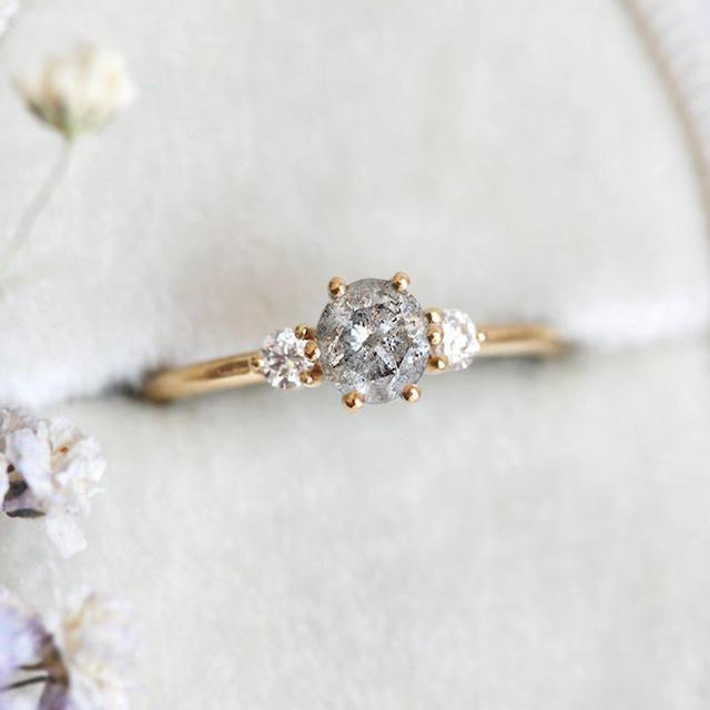 MinimalVS Round Salt Pepper Diamond Engagement Ring