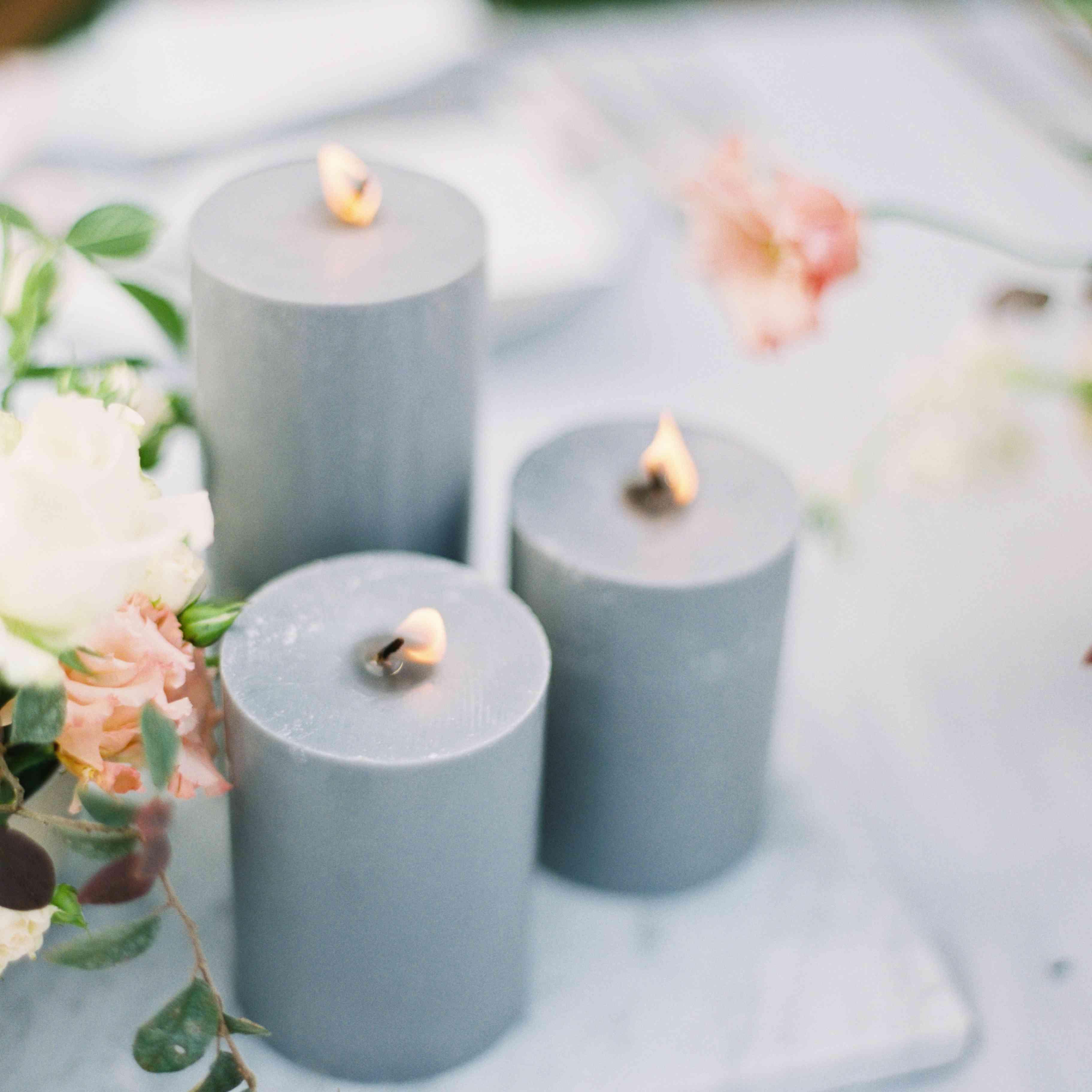 blue pillar candles