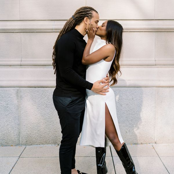 couple kissing during engagement photos