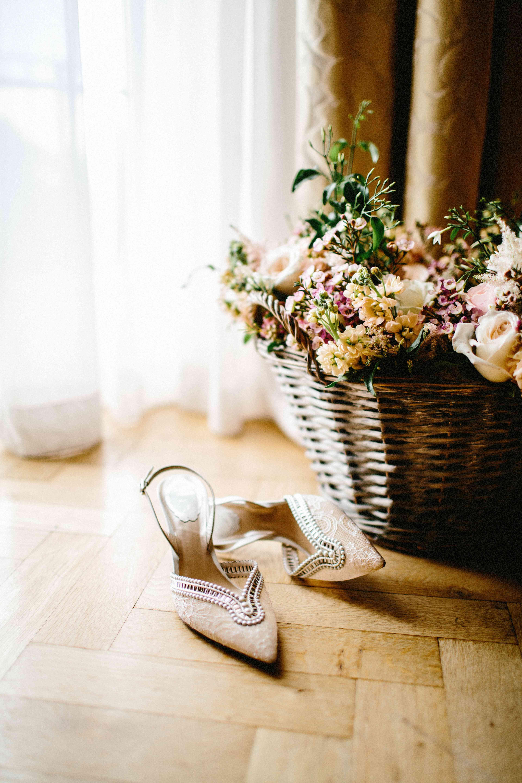 A pair of neutral kitten heels.