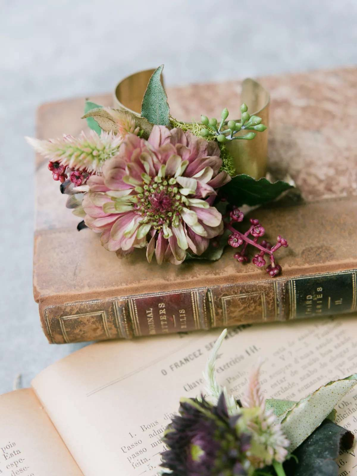 wedding corsage on old book