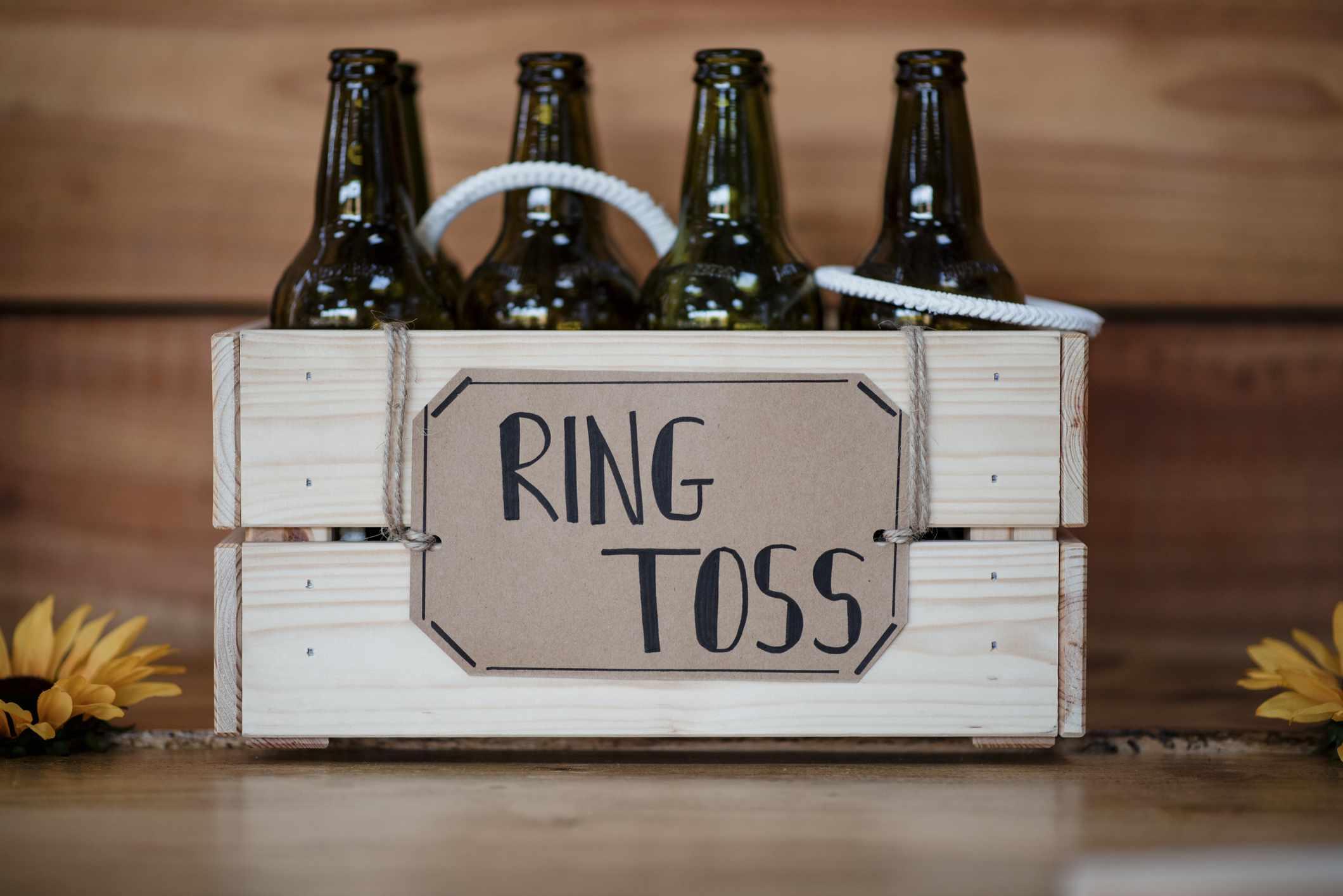 Ring toss on bottles game