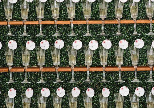 Champagne glass escort card display