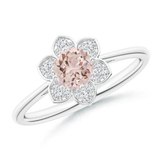 Angara Round Morganite Cocktail Ring with Floral Diamond Halo