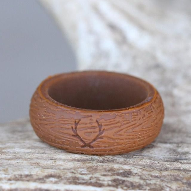 Staghead Designs Wood Grained Silicone Wedding Band