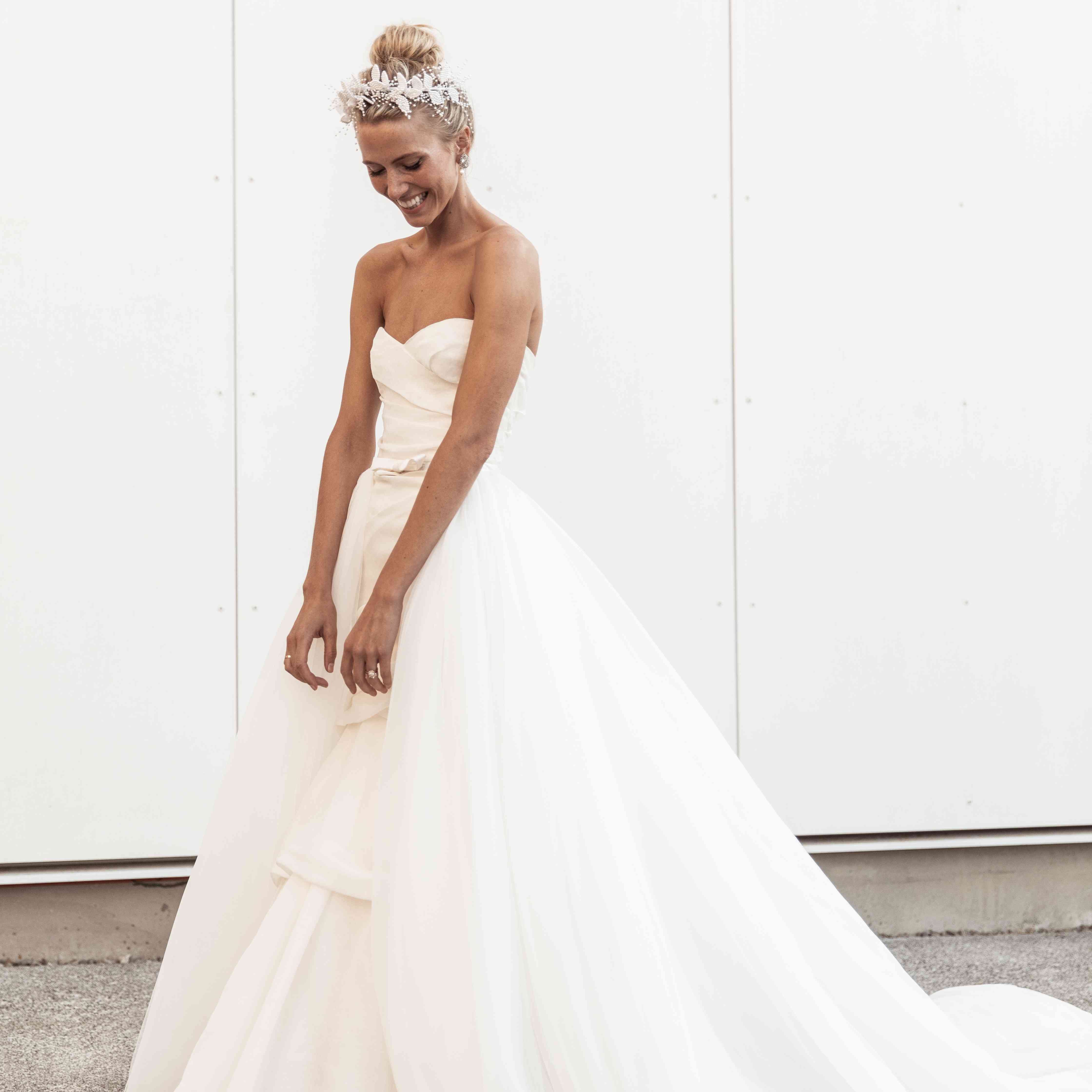 bride smiling strapless ball gown