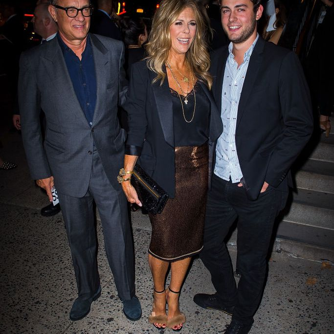 Tom Hanks, Rita Wilson and Truman Theodore Hanks are seen attending the Tom Ford fashion during New York Fashion Week