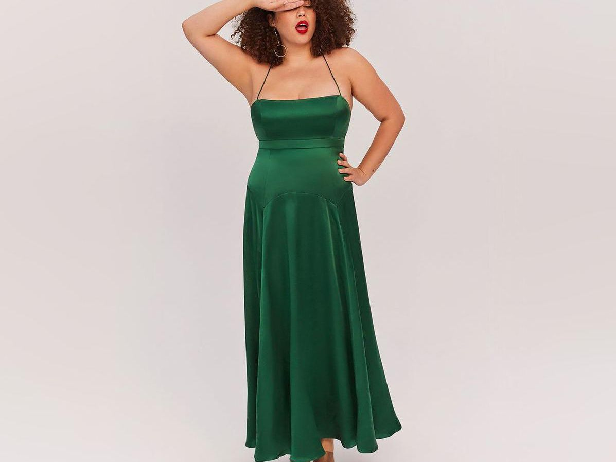 An Old Hollywood Inspired Dress in Deep Green with See Thru Lace Botice