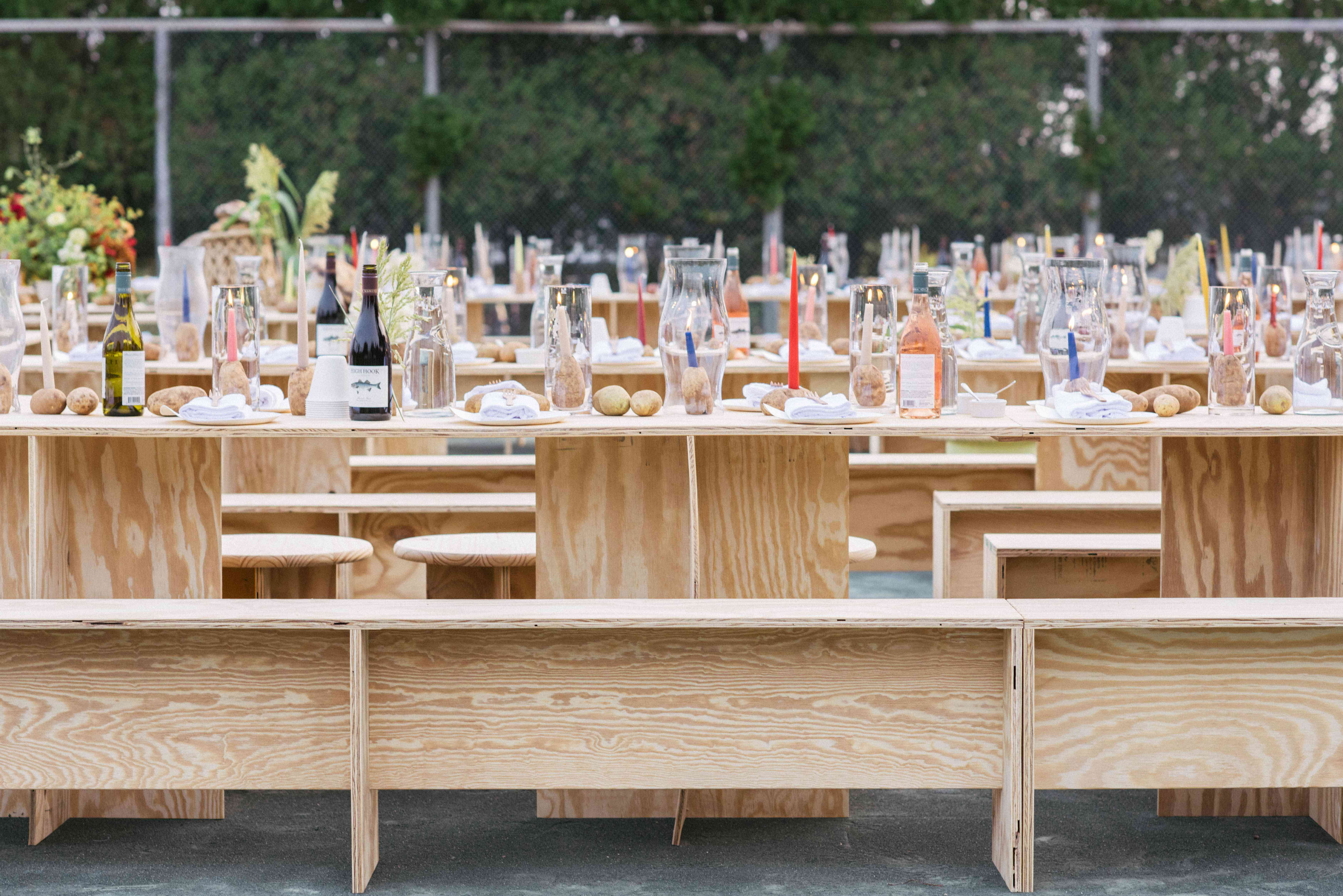 reception bench seating long tables