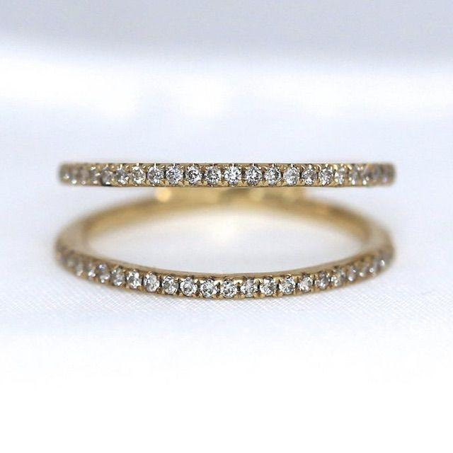 AveryBlake 14K Solid Gold Double Band Diamond Eternity Ring / Avery Blake Fine Jewelry, Edgy Minimal Layering