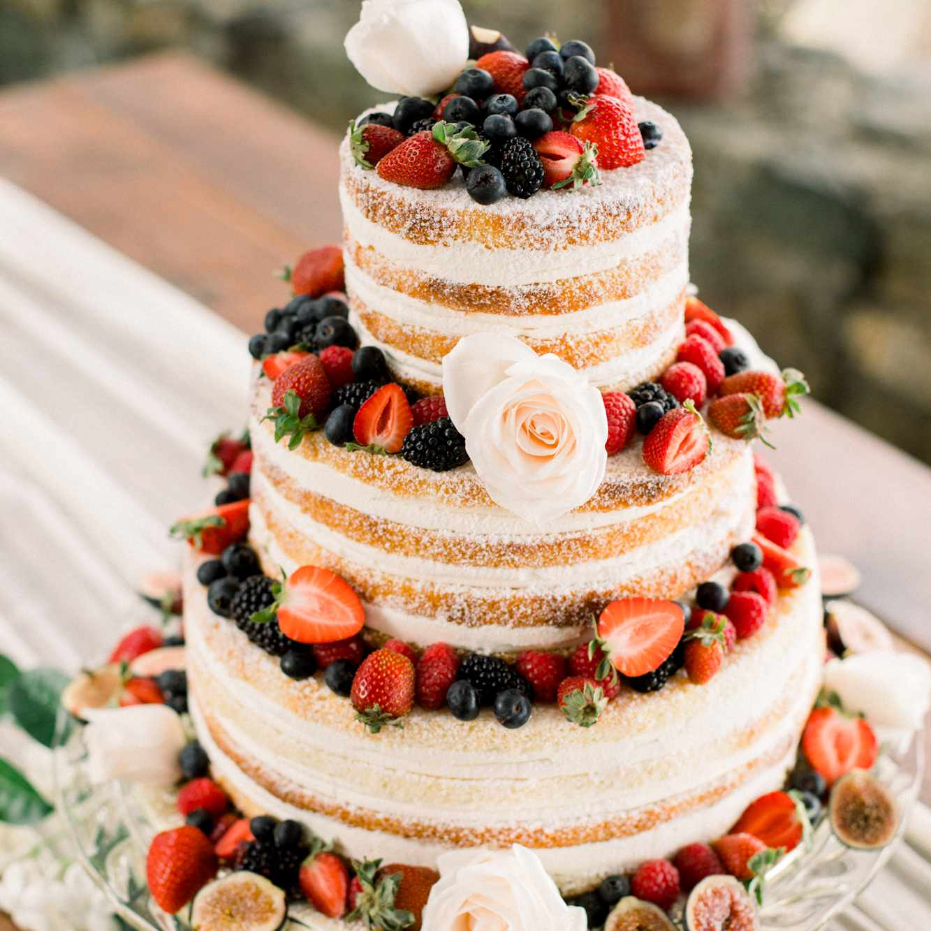 wedding cake with berries and figs