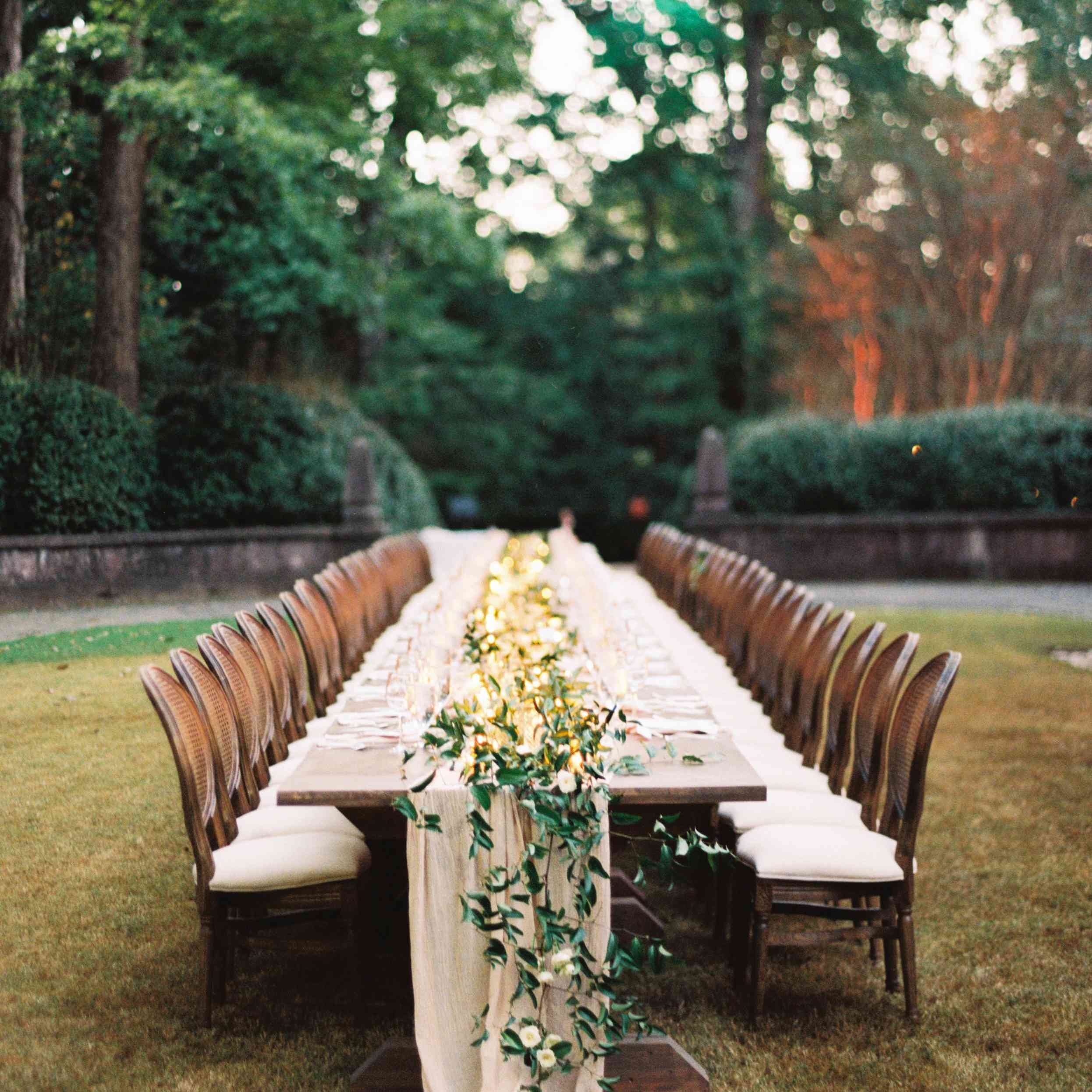 lights and greenery table centerpiece